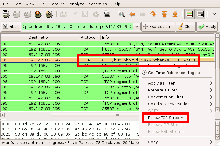 How to follow a TCP stream in Wireshark