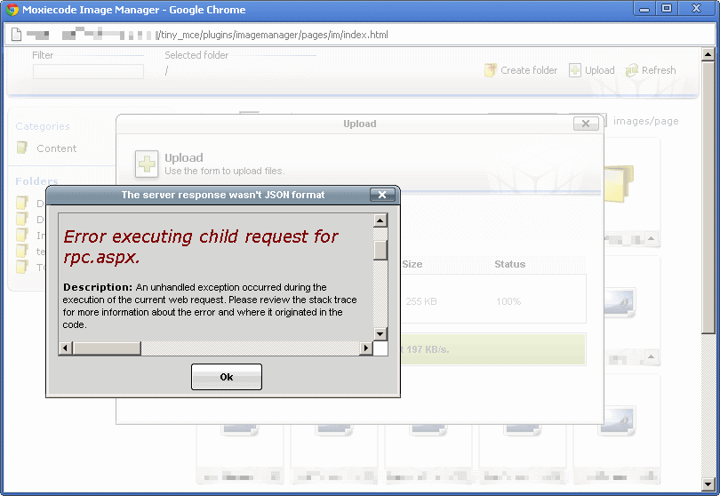Error executing child request for rpc.aspx